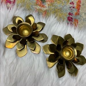 Vintage Brass Flower Candle Holders Set of 2